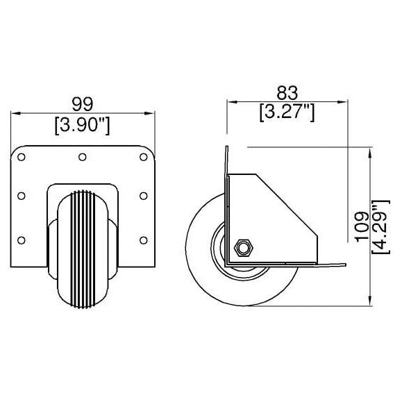 """Parts Express 6/"""" Braked Swivel Airless Flat-Free Caster 175 Lb Capacity"""